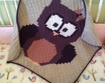 Baby Owl Crochet Blanket