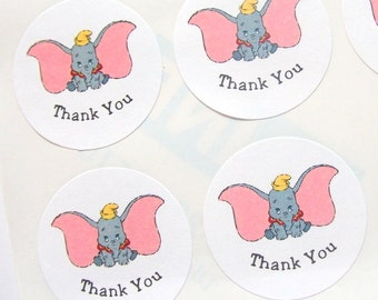 Dumbo Stickers, Circus Theme, Baby Shower, Birthday Party, Thank You, Personalized, Favor Bag Stickers, Jar Labels, Sizes: 1.5 or 2 inches