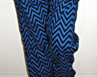 Harem Pants, Black and Blue Zigzags