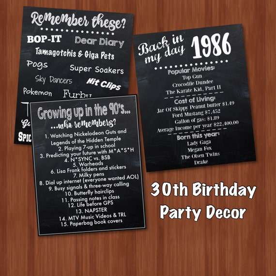 30th birthday party decor fun facts 80 39 s by craftoncrafters for 30th birthday decoration