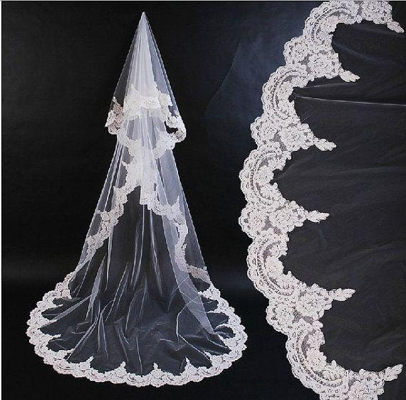 Veil, Lace Veil, Mantilla, Wedding Veil, Drop Veil, Hip-length Veil, Classic Veil, Romantic Veil, Bridal Veil, Boho Veil- PAGEANTRY Veil