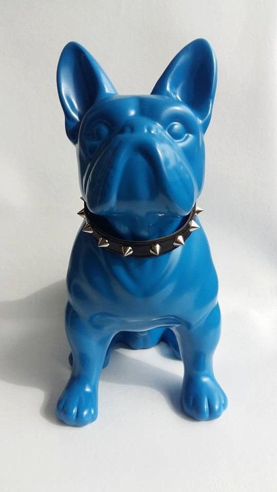 statue franz sische bulldogge keramik blau von. Black Bedroom Furniture Sets. Home Design Ideas