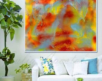 Autumn Abstract Print, Spring Painting, Autumn Painting, Abstract Painting, Colorful Art, Turquoise Abstract, Gold, Orange, Blue Art, Green