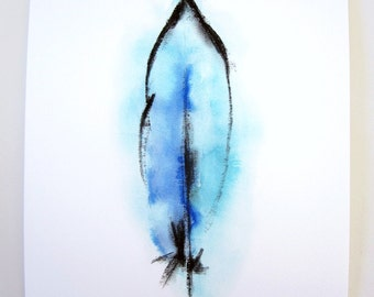 Feather Mixed Media Art - Giclee Fine Art Print - Archival - Watercolor Feather