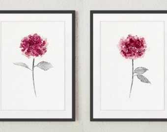 Pink Hydrangea Set 2, Shabby Chic Decor Minimalist Housewarming Gift, Abstract Flower Watercolor Painting Purple Botanical Living Room Print