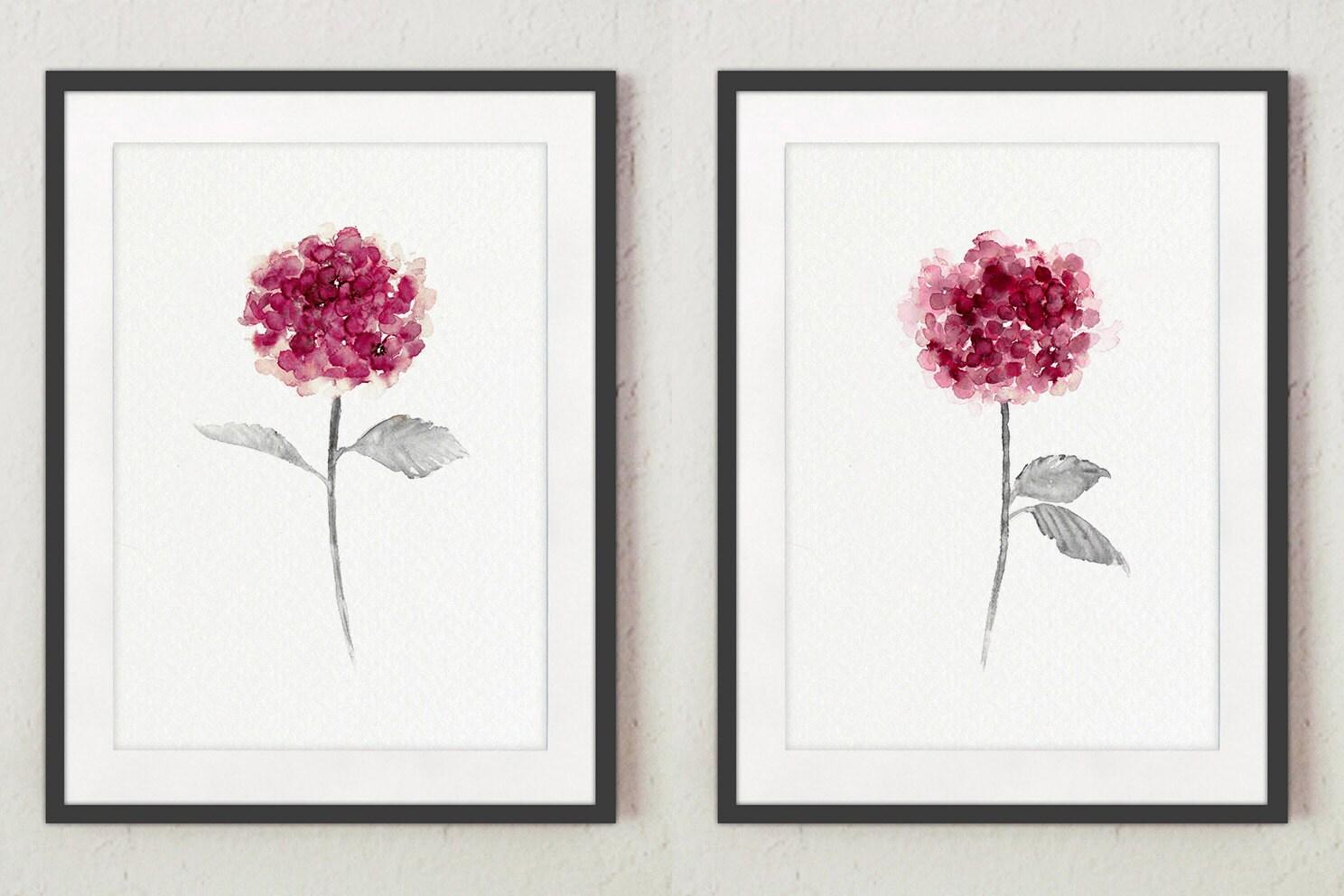 Pink hydrangea set 2 shabby chic decor minimalist for Minimalist gifts for housewarming