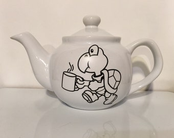 "koopa troopa super mario brothers  white Cute teapot ""re koopa rate"" recuperate 2 plus cup"