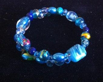 Blue Beaded Bracelet - Ready to Ship - Beaded Jewelry - Memory Wire Bracelet - Blue Beaded Memory Wire Bracelet