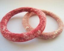 Pink & Red Felt Bracelet Bangles, Soft Stacking Bracelet Set, Felt Jewelry, Small Wrist Bracelets