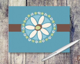 Blank Note Cards   Beige Daisy Note Cards   Note Card Set   Thank You Card Set