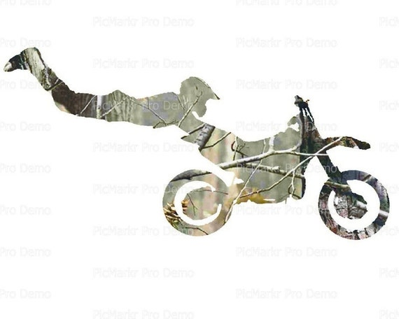 Motocross Camo Dirtbike Birthday - Edible Cake and Cupcake Topper For Birthday's and Parties! - D22031