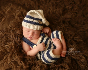 New COLOR......Baby Pixie Hat and Pants, Suspenders, Elf Hat, ,Newborn Photo Prop, Baby Outfit, Baby Photo Prop. Baby Boy Outfit,