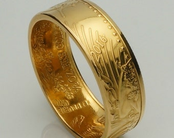 """Gold Coin Ring 2016 or 2017 Bullion - """"Heads"""" 1/2 Ounce American Eagle 22K - Wedding Band - Double Sided - Polished Finish"""