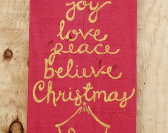Hand Painted Wooden Sign: Christmas tree with Nativity Scene