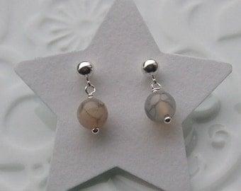 Spider Agate semi precious sterling silver earrings