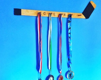 Hockey Stick Medal Holder, Medallion Display, Hockey Wall Decor, Custom Hockey Stick, Personalized