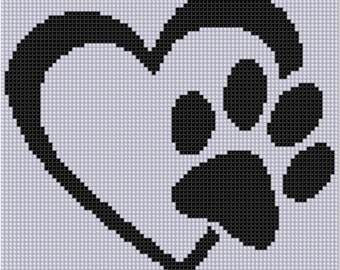 Paw Heart Cross Stitch Pattern