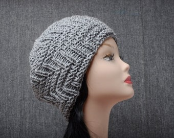 grey hand knitted winter hat womens xmas gift