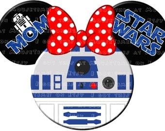 TRANSFER R2-D2 (Minnie) Ears! - Mouse Ears Tshirt Transfer
