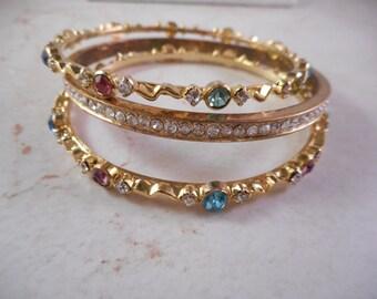 Vintage Gold Tone Bangle Bracelet Lot With Colorful Rhinestones