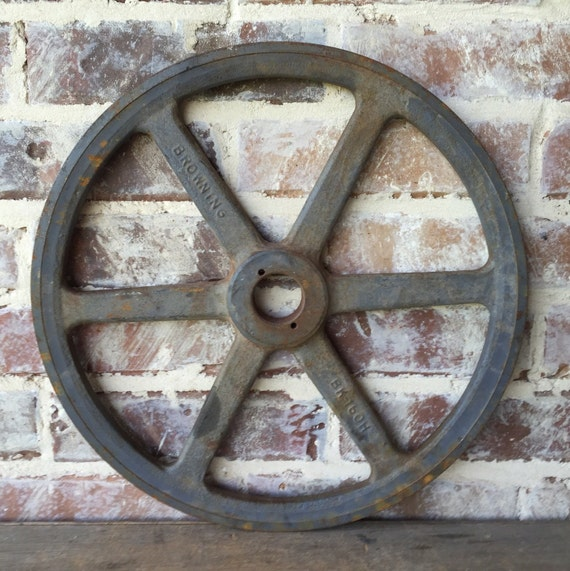 Antique Wheels And Gears : Vintage large steel metal wheel double pulley gear antique