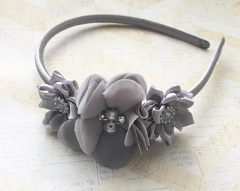 Hard grey headband,flower girl headband,wedding headband,flower girl,satin headband,girls headband
