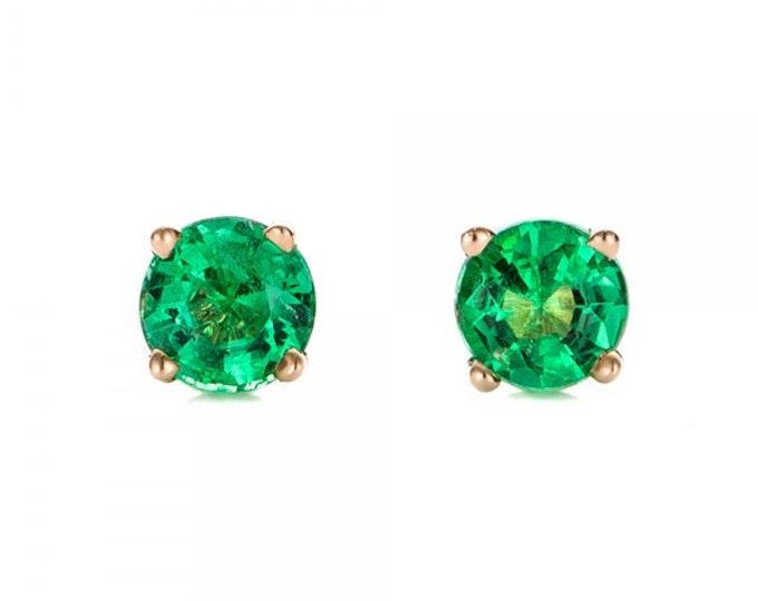 0.50 ct carat Emerald stud earrings -Green Emerald-Handmade Emerald stud earrings-14 k Yellow gold earnings-Emerald earrings-For her