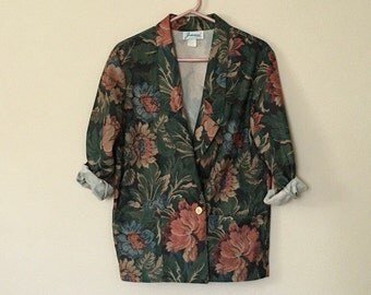 Vintage Floral Blazer, 90's, Women's Blazer, 1990's, Women's Clothing - Medium