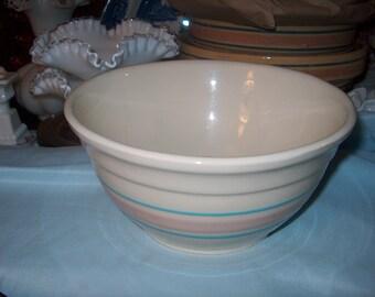 Vintage Yelloware Bowl, Pink & Blue slip. Mixing Bowl,