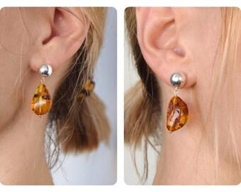 "925 silver pendant earrings Baltic amber ""unique piece"""