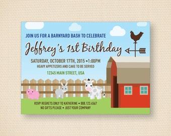 Barnyard Themed Birthday Invite - 7x5
