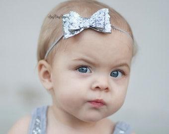 Silver Glitter Sequin Bow - Girls Birthday Bow - Simple Glitter Bow - First Birthday -  Headband - Silver - Gray