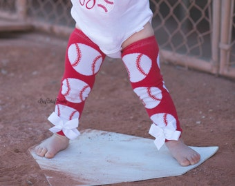 Baseball baby girls leg warmers red and white bows