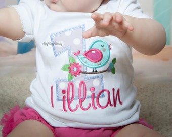 First birthday ANY AGE embroidered birdie shirt custom personalized bird tree branch bow