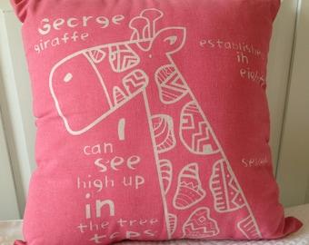 Pink Giraffe Pillow 17x17