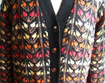 SALE! Hand Made Floral Knitted Hippie Boho Coat M L