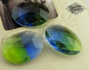 18x13 Oval Givre Sapphire Blue Peridot Green Glass Vintage Rhinestone Unfoiled - Rare - High Quality West German - 2 pcs