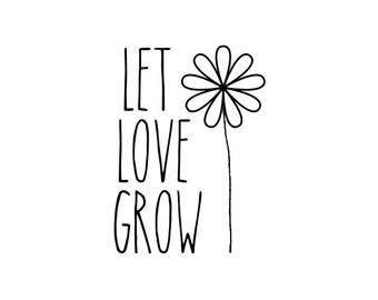 LET LOVE GROW stamp - gift tag stamp, seed packet stamp, card stamp, diy wedding stationery, packaging stamp, label stamp, (minis35)
