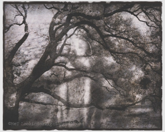 Surreal Spiritual Vision Art | Infrared Tree Photo | Spiritual Infrared Photo Collage | Mary and Tree Montage | Virgin Mary and Tree Print