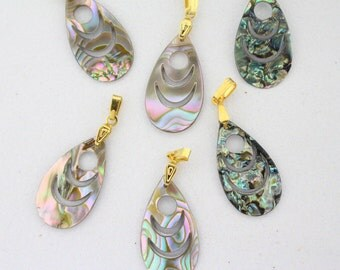 6 PCS VINTAGE Abalone Shell Drop Pendants/Charms with Gold Bails 28mm