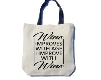 Wine Tote Bag, Screen Printed, Black Ink, Cotton Canvas Tote Bag