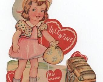 Used 1942 Valentine, You're a Treasure, good shape, girl, treasure chest