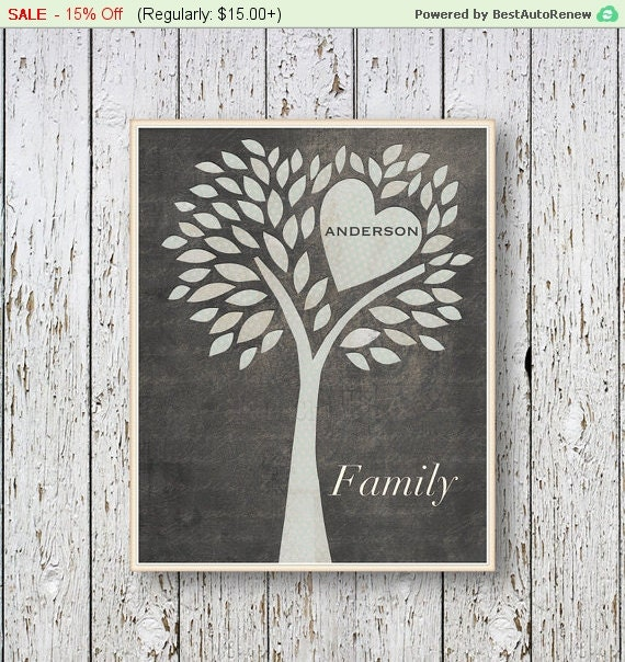 family tree personalized with name wall art decor by lilchipie. Black Bedroom Furniture Sets. Home Design Ideas