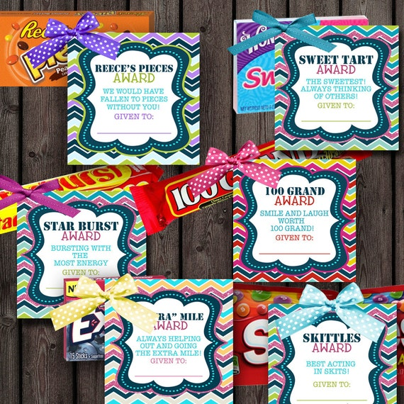 girls camp awards candy tags 24 different candy tags sayings