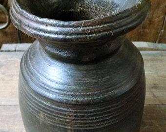 Antique Wood Carved Vase