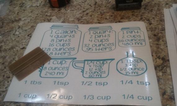 kitchen measurements,  Measurement Conversion Jars, Kitchen decals, Baking Decals, Cooking Decals, kitchen measurement conversion decal,