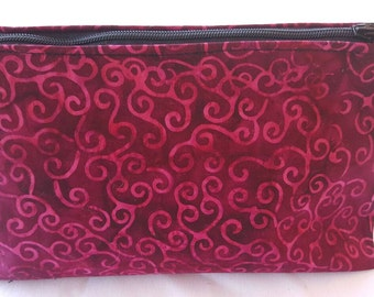 Burgundy swirls batik cosmetic bag,  make-up bag batik bags, zipper pouch, go-bag, cosmetic organizer, travel bag, travel pouch, small pouch