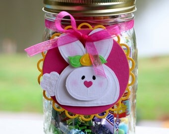 Bunny Gift Tag - Wine Bottle Tag - Candy Jar Tag - Scrapbooking Embellishment - Rabbit - Easter - Set of 2