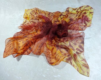 Square silk scarf Orange yellow burgundy Hand-painted silk shawl scarf silk Neckerchief Boho multicolor High fashion scarf chiffon 70x70cm