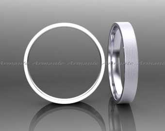 3.00mm Wide Wedding Band 14k Solid White Gold Band Hand Made Wedding Ring Brushed Finish